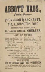 Advert For Abbot Brothers Grocers